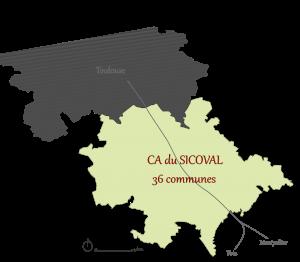 Carte du SICOVAL ( Adrien PUKROP - Atelier ATU)